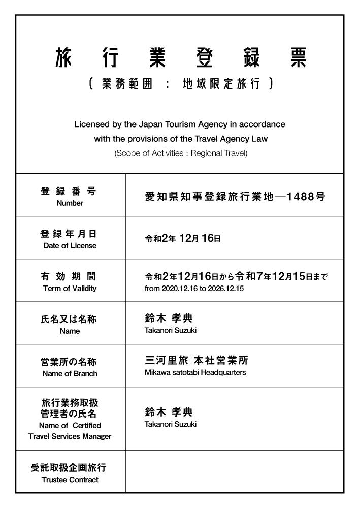 旅行業登録表